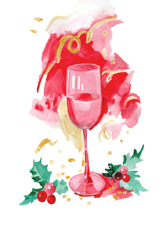 glass of rose wine watercolor illustration