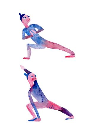 the yoga pose the warrior is a cute watercolor illustration