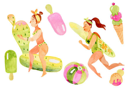Summer girls in the pool with inflatable toys watercolor illustration