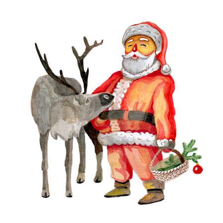 Santas reindeer realistic watercolor insulated hand-drawn