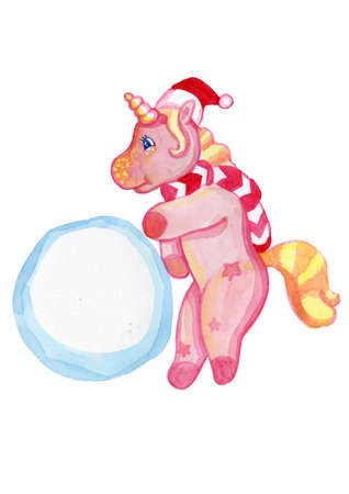 Cute cartoon pink unicorns celebrate Christmas in the winter season Imagens