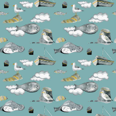 seamless pattern of digital paper with seagull seals and ships