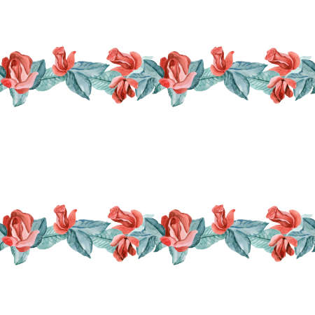 Seamless floral border. White flower garland on pink background roses flowers