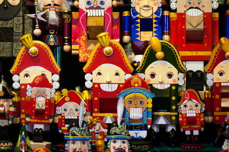 Christmas Market in Red Square, Moscow. Sale of toys, famous and popular fairy-tale characters, figurines. Nutcracker