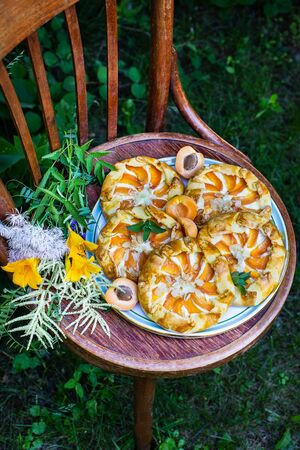 Homemade open apricot pie (shortcrust pastry with apricot filling, peonies in the background). On an old vintage wooden chair