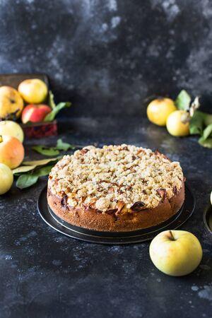 Homemade apple pie with shortcrust pastry on top, with shtrezel, shtreisel Reklamní fotografie