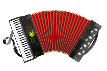 accordion: Stretched black accordion front view