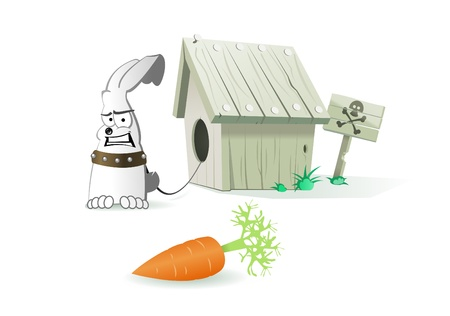Evil rabbit with collar near dog house. Sign with skull behind kennel. In the foreground lies carrot. Illustration in cartoon style. Stock Illustration - 8426940