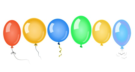 party balloons: Coloured air balloons on white background
