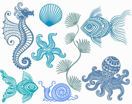 inhabitants: patterns mamarine inhabitants. starfish fish octopus seahorse shell snail. sea ??ocean. Illustration