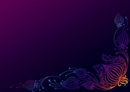 pattern corner physalis. colorful drawing on the dark background. floral composition. Illusztráció
