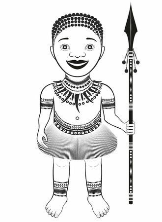 pygmy: African tribe character. boy with spear .graphic drawing pattern.