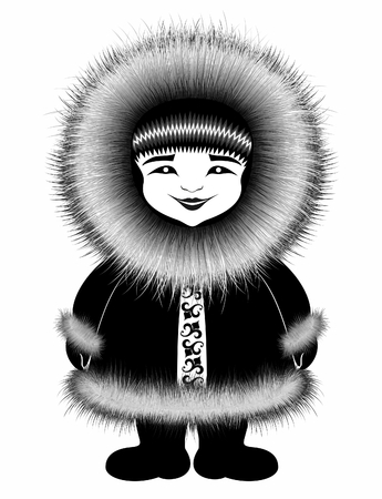 personage: eskimo personage in winter clothes. northern cold .black drawing.