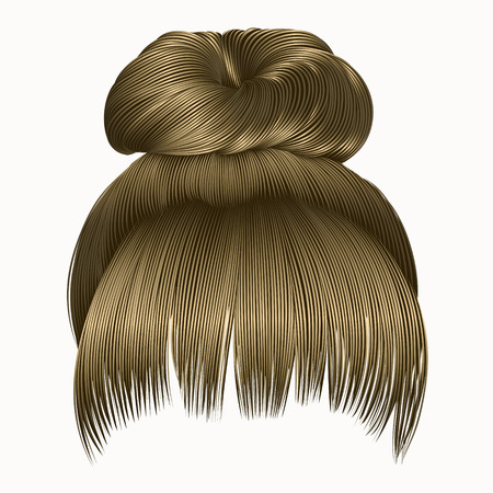 light brown hair: bun hairs with fringe blond colors. women fashion beauty style.