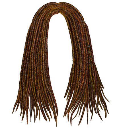 light brown hair: trendy african long hair dreadlocks. realistic 3d. fashion beauty style.
