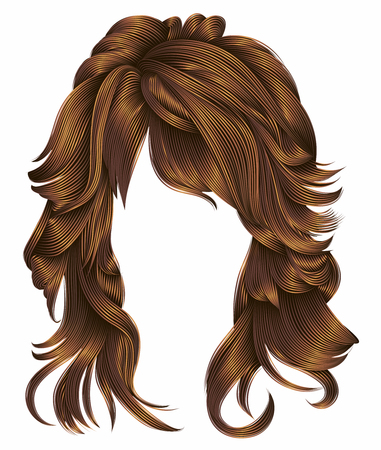 hair setting: trendy woman long hairs red colors. beauty fashion. realistic 3d
