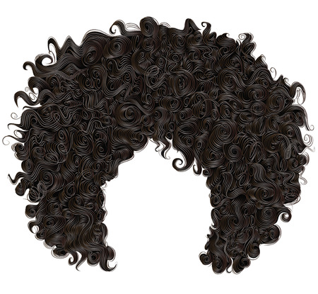 black wigs: trendy curly african black hair. realistic 3d. fashion beauty style. Illustration