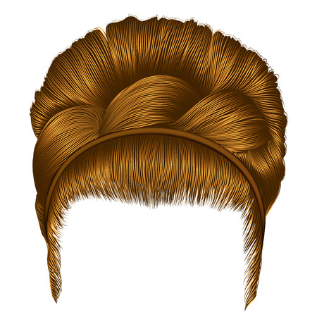 hair setting: babette of hairs with pigtail blond colors. trendy women fashion beauty style. realistic 3D. retro hairstyle light redhead.