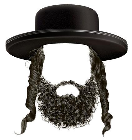 judaic: black hair sidelocks with beard. mask wig jew hassid in hat.