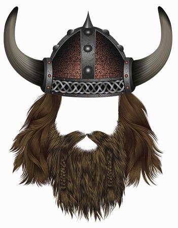 viking in horned helmet. mask wig. man hair with beard. Illustration