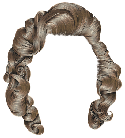 trendy woman hairs blond colors. beauty fashion. retro style curls. realistic 3d.