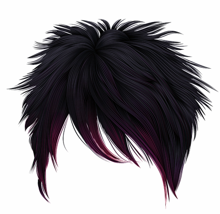 trendy woman short hairs black pink colors. long fringe. fashion beauty style. emo Japanese.