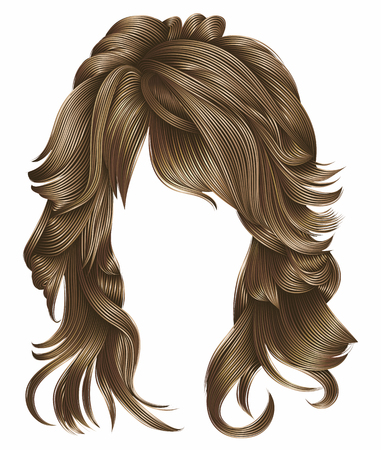 trendy woman long hairs blond colors. beauty fashion. realistic 3d Illustration