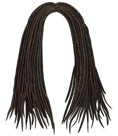 trendy african long hair dreadlocks. realistic 3d. fashion beauty style.