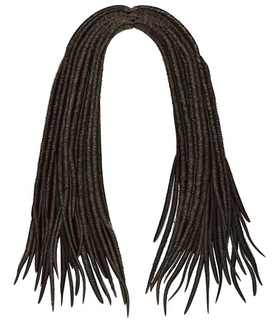 dreadlocks: trendy african long hair dreadlocks. realistic 3d. fashion beauty style.