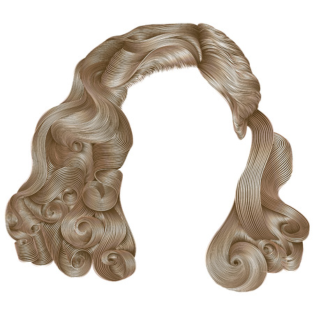 trendy woman hairs kare blond colors. beauty fashion. retro style curls. realistic 3d.