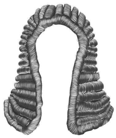 oordelen pruik grijze haren krullen. middeleeuwse stijl antique.realistic 3D. Stock Illustratie