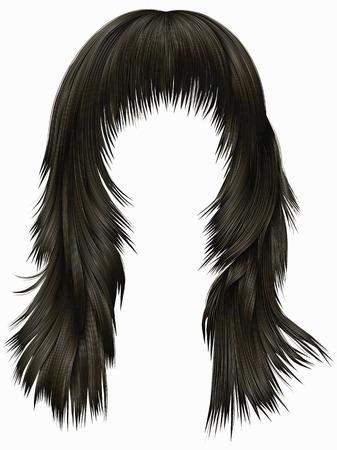 trendy woman long hairs brunette dark brown colors. beauty fashion. realistic 3d