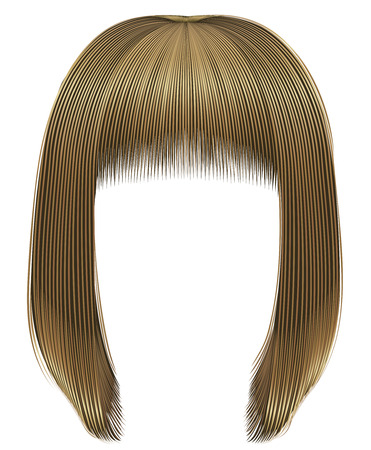 trendy woman hairs bob kare with fringe. light blond colors. medium length. beauty style. realistic 3d. Illustration