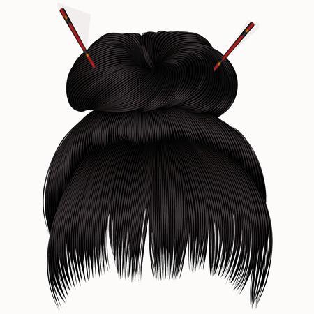 hair setting: bun hairs with fringe dark brunette. women fashion beauty style. Illustration
