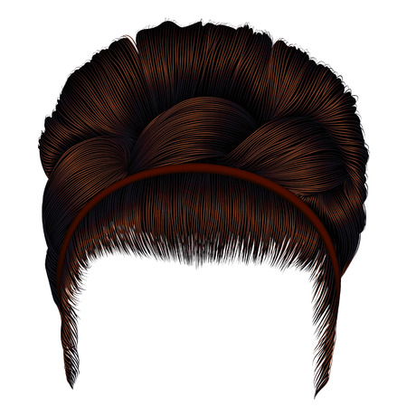 babette of hairs with pigtail dark brown colors. trendy women fashion beauty style. realistic 3D. retro hairstyle.