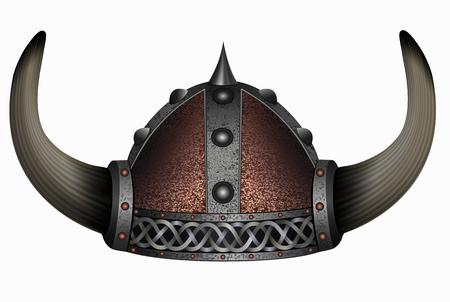 army face: viking in horned helmet. mask man Illustration