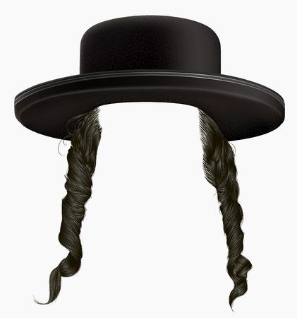 black hair sidelocks. mask wig jew hassid in hat.