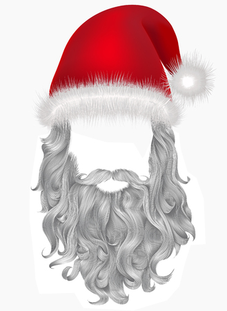 red hat santa claus with beard .christmas holiday mask attire.