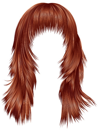 wig: trendy woman long hairs red copper colors. beauty fashion. realistic 3d