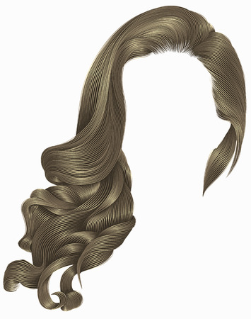 woman trendy long curly brunette hairs wig blond brown colors. retro style. beauty fashion. realistic 3d. Illustration