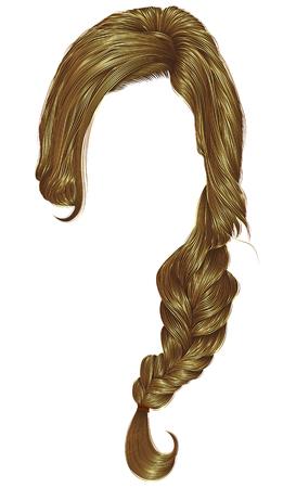 trendy women hairs pigtail. braid plait. fashion beauty style. realistic 3d. blond color.