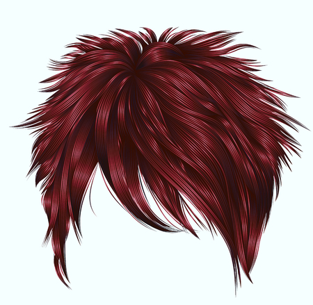 trendy woman short hairs with fringe. dark red color. beauty style. realistic 3d.