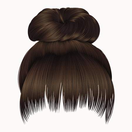 bun hairs with fringe dark brown colors. women fashion beauty style. Illustration