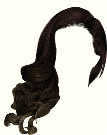 woman trendy long curly brunette hairs wig dark brown colors. coloring highlighting,. beauty fashion. realistic 3d. Illustration
