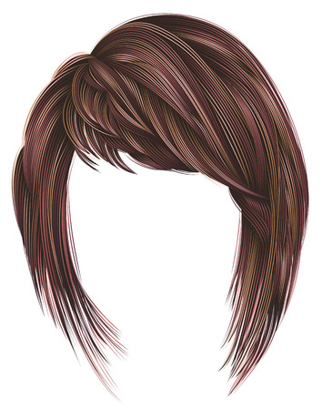 trendy woman hairs kare with fringe. pink red colors. medium length. beauty style. realistic 3d .koloring highlignting. Illustration