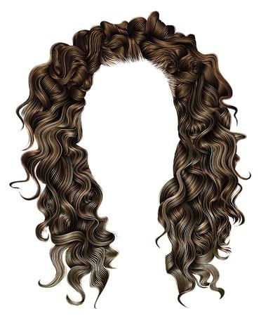 여자 트렌디 한 긴 곱슬 갈색 머리 털가 발 어두운 갈색 색상. 착색 강조,. 아름다움 패션. 현실적인 3d.