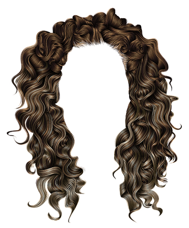 woman trendy long curly brunette hairs wig dark brown colors. coloring highlighting,. beauty fashion. realistic 3d. Иллюстрация