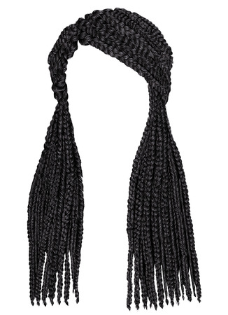 trendy african long hair cornrows. realistic 3d. fashion beauty style.