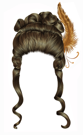 woman wig hairs curls. medieval style rococo, baroque.high hairdress with feather. Illustration