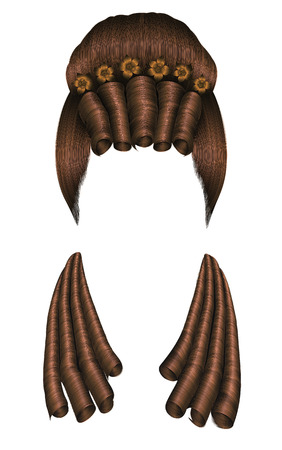 wig: woman wig hairs curls. medieval style rococo, baroque. high hairdress bun with flowers. Illustration